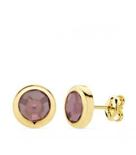 Pendientes Oro Amarillo 18K Lilo Piedra Púrpura gemas colores invitada boda
