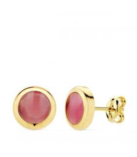Pendientes Oro Amarillo 18K Lilo Piedra Rosa calcedonia gemas colores invitada de boda chaton circonita color dormilona
