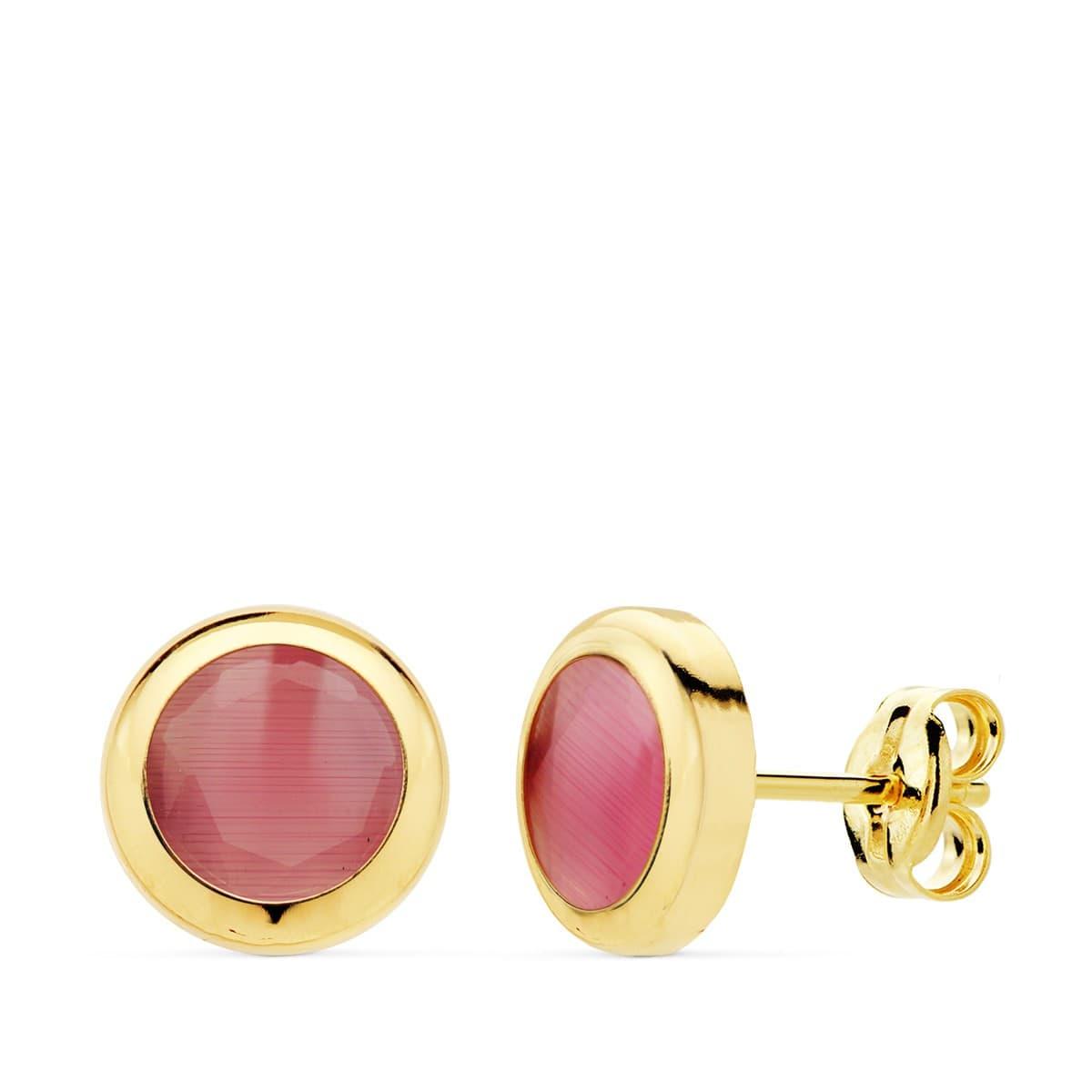c3a5c1ea8feb Pendientes Oro Amarillo 18K Lilo Piedra Rosa calcedonia gemas colores  invitada de boda chaton circonita color ...