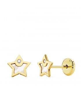 Pendientes baratos Niña Oro 18K Moana Estrella 6 mm joyas infantiles