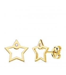 Pendientes de mujer baratos Space Oro Amarillo 18K Estrella pendientes minimal modernos