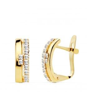 Pendientes Bandas Texas Oro Amarillo 18K joyas mujer regalos Navidad