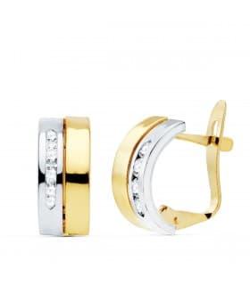 Pendientes bandas mujer Nevada Oro Bicolor 18K joyas regalo