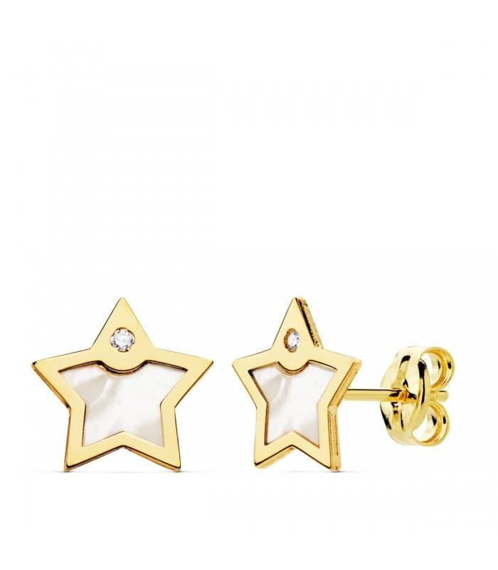 Pendientes Space Oro Amarillo 18K Estrella Nácar pendientes modernos cierre presión joyería online