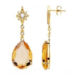 Pendientes Dakota Oro Amarillo 18K Piedra Champagne Joyas invitada de boda mujer