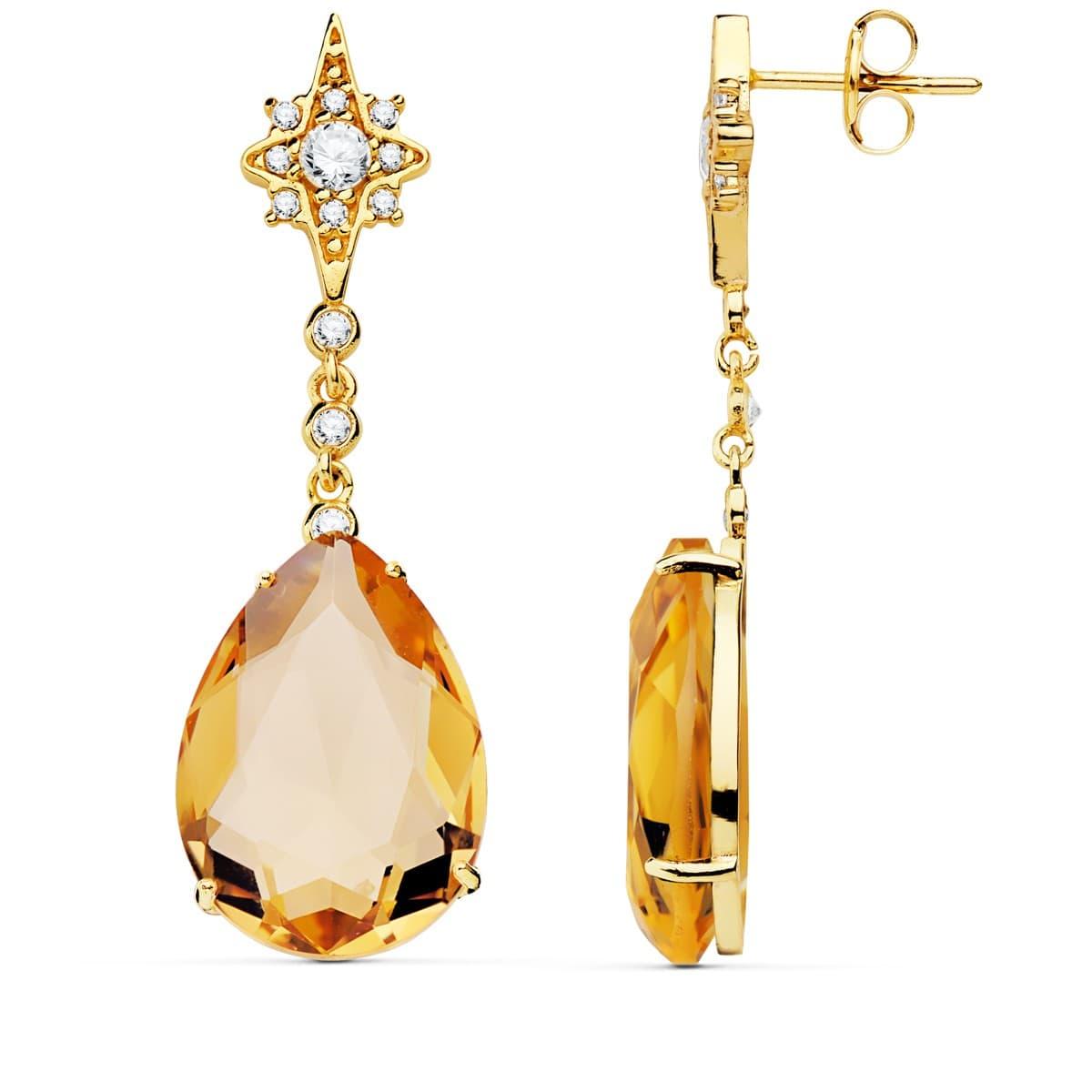 3d826e790f56 Pendientes Dakota Oro Amarillo 18K Piedra Champagne Joyas invitada de boda  mujer ...