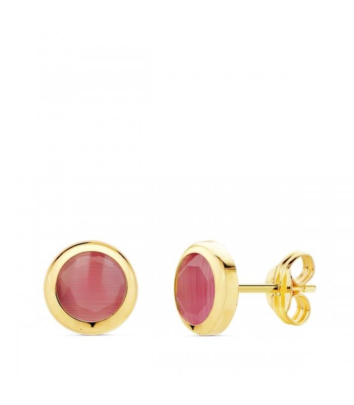 Pendientes pequeños Stick Oro 18K Piedra Rosa 6,5 mm joyas mujer online chatón dormilona color