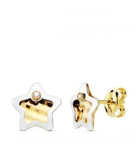 Pendientes Oro Bicolor 18K Hera 7 mm joyas niña online