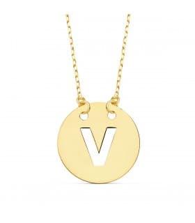 Collar letra V inicial oro amarillo 18k 42cm gargantilla nombre mujer joyas personalizadas