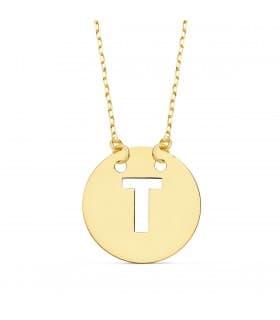 Collar letra T inicial oro amarillo 18k 42cm gargantilla nombre mujer joyas personalizadas