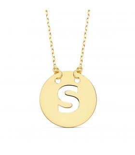 Collar letra S inicial oro amarillo 18k 42cm gargantilla mujer nombre joyas personalizadas