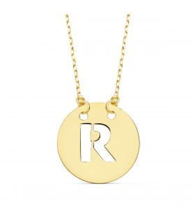 Collar letra R inicial oro amarillo 18k 42cm gargantilla mujer nombre joyas personalizadas