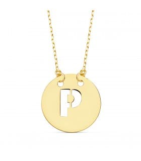 Collar letra P inicial oro amarillo 18k 42cm gargantilla nombre mujer joyas personalizadas