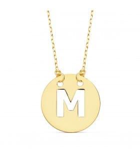Collar letra M inicial oro amarillo 18k 42cm gargantilla mujer nombre joyas personalizadas