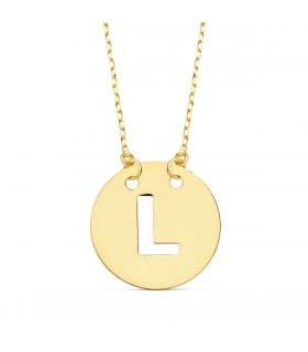 Collar letra L inicial oro amarillo 18k 42cm gargantilla mujer nombre joyas personalizadas