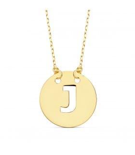 Collar letra J inicial oro amarillo 18k 42cm gargantilla nombre mujer joyas personalizadas