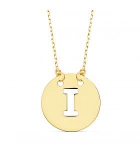 Collar letra I inicial oro amarillo 18k 42cm gargantilla mujer nombre joyas personalizadas