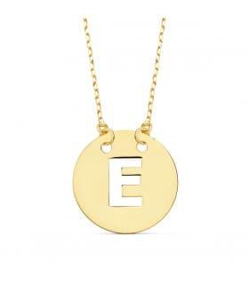 Collar letra E inicial oro amarillo 18k 42cm gargantilla mujer nombre joyas personalizadas