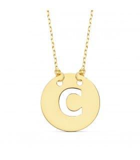 Collar letra C inicial oro amarillo 18k 42cm gargantilla mujer nombre joyas personalizadas