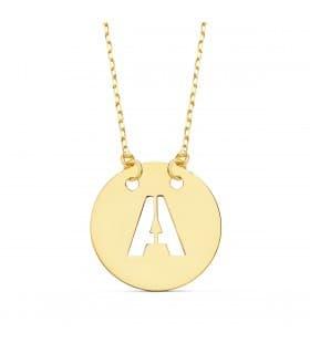 Collar letra inicial oro amarillo 18k gargantilla mujer nombre personalizado