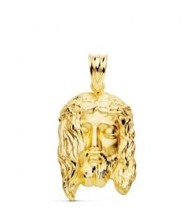 Colgante Cabeza Cristo Santo Rostro oro amarillo 18 kilates joyas medallas religiosas