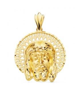 Colgante Cabeza Cristo Cerco Oro 18K 31mm medalla estampacion joya religiosa personalizada