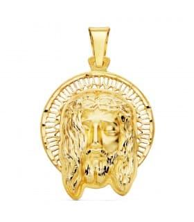 Colgante Rostro de Cristo Orla Oro 18 Kilates 29mm joya religiosa medalla personalizada