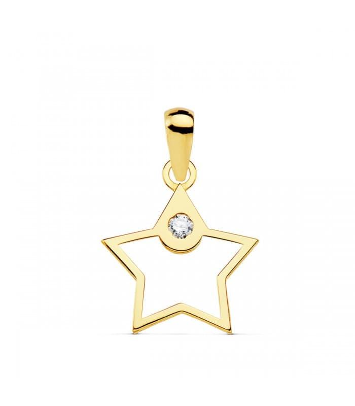 Colgante Space Oro Amarillo 18K Estrella line