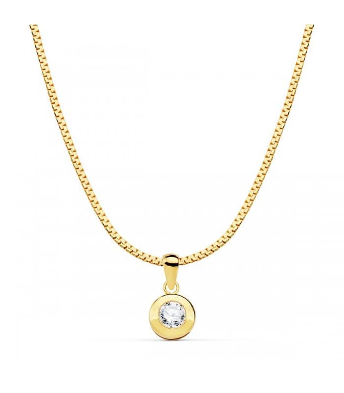 Gargantilla Mujer Chatón Oro Amarillo 18K 42cm cadena cola de raton colgante punto de luz