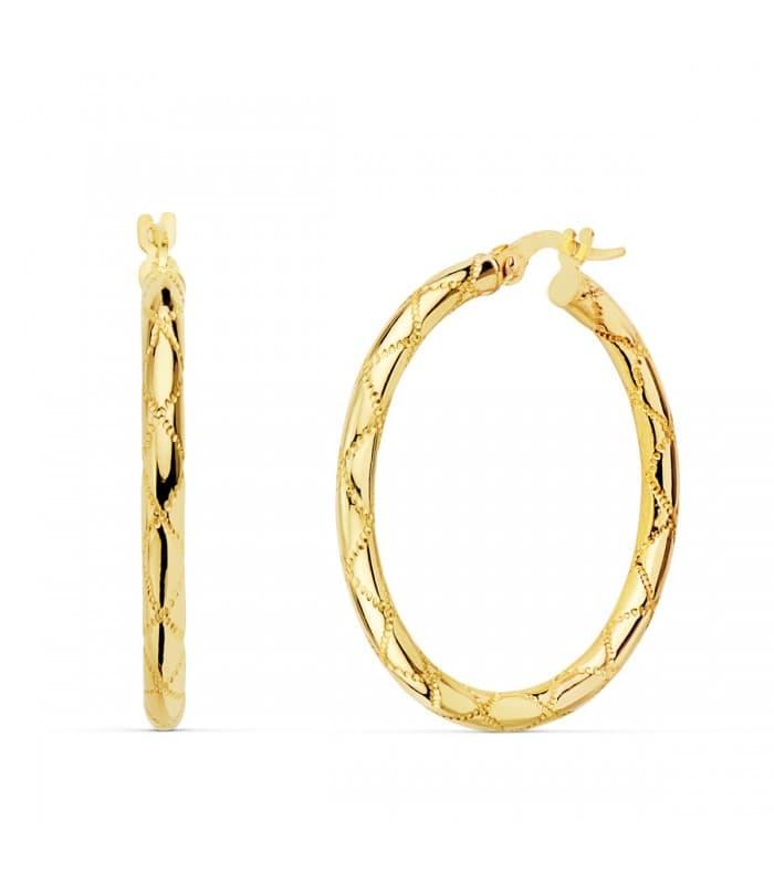 Aros Mujer Seam Oro Amarillo 18K 30 mm