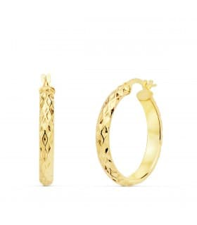 Aros Mujer Wave Oro Amarillo 18K 23 mm