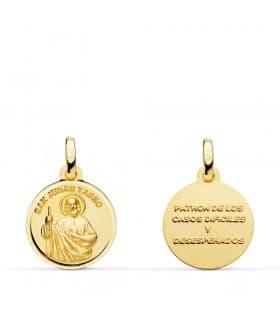 Medalla San Judas Tadeo Oro 18K 14mm joya religiosa santo oracion