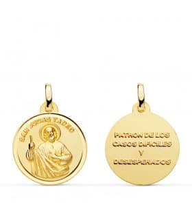 Medalla San Judas Tadeo Oro 18K 18mm santo devoción joyas religiosas catolicas santoral