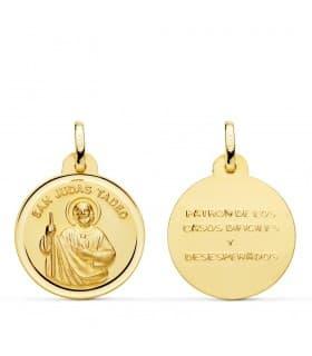 Medalla San Judas Tadeo Oro 18K 20mm joya religiosa santo devoción
