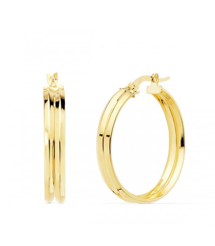 Aros Mujer Gallón Oro Amarillo 18K 25 mm