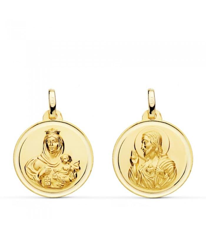 Colgante escapulario V. Carmen/Corazón de Jesús bisel 18 mm medalla religiosa comunión