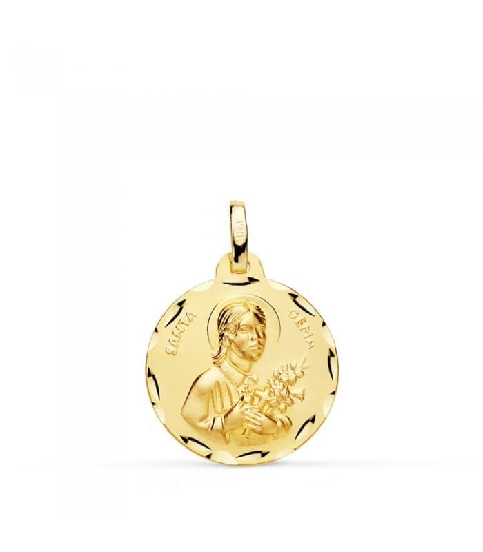 Medalla religiosa católica Santa Gema oro 18 kilates grabado personalizado