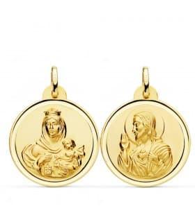 Medalla religiosa colgante escapulario virgen del Carmen y Jesucristo medallón oro
