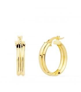Aros Mujer Gallón Oro Amarillo 18K 18 mm pendientes bandas