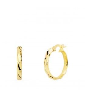 Aros Mujer Bucle Oro Amarillo 18K 17 mm pendientes circulo cierre italiano