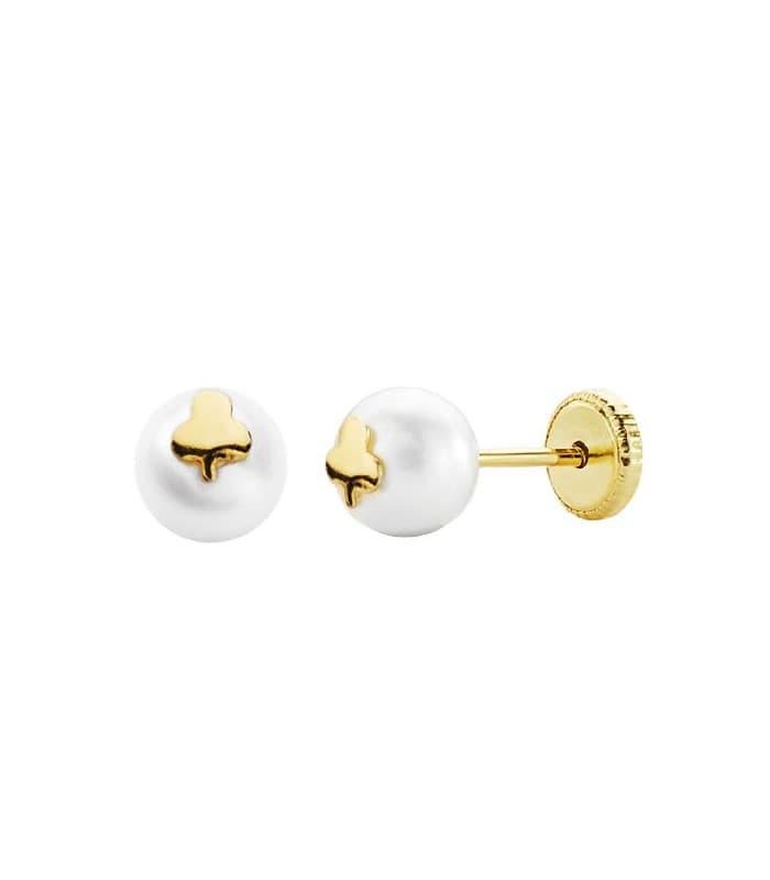 Pendientes Trébol Oro amarillo 18K Perla 6mm