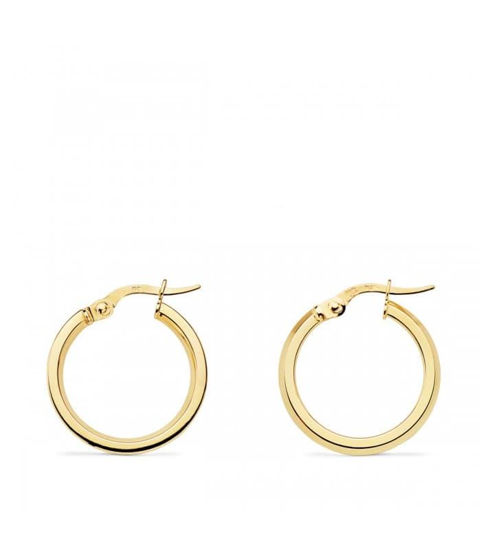 Aros Mujer Skinny Oro Amarillo 18K 18 mm pendientes grandes