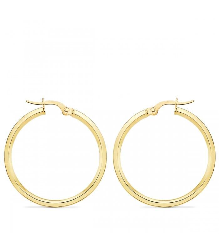 Aros Mujer Skinny Oro Amarillo 18K 28 mm pendientes grandes