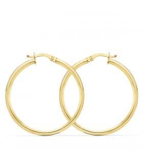 Aros Mujer Skinny Oro Amarillo 18K 33 mm pendientes grandes