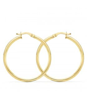 Aros Mujer Wave Oro Amarillo 18K 23 mm