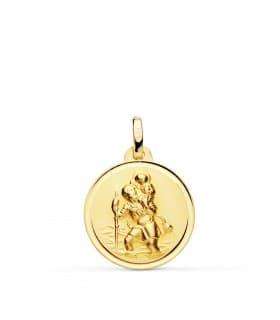 Medalla San Cristóbal Oro 18K 18mm Bisel joya religiosa grabado personalizado