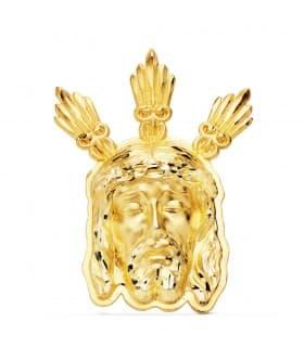 Colgante Rostro Cristo Oro 18K 39mm Potencias medalla religiosa grabado personalizado