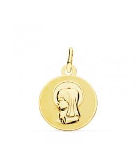 Medalla Virgen niña Oro 18K 14mm Matizada