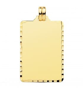 Colgante Chapa Rectangular Oro 18K 34 mm