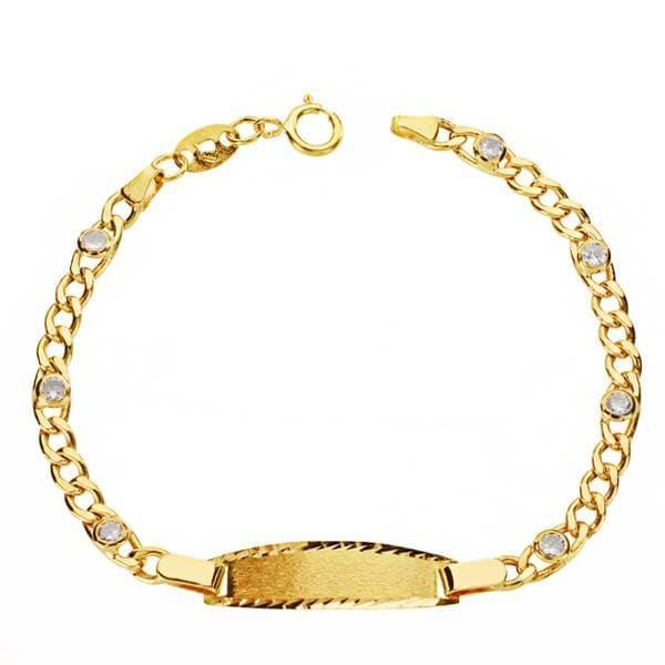 Alda Joyeros Esclava beb/é en Oro Amarillo de 9 ktes Grabado Gratuito. eslab/ón 3x1 Personalizable